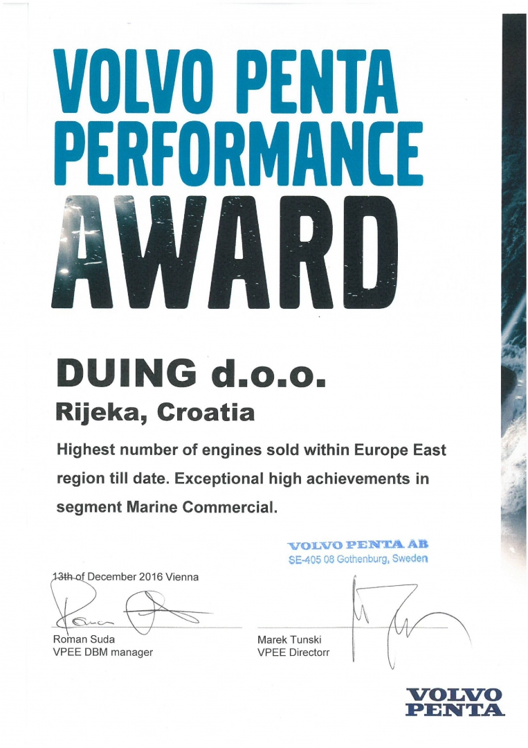 Duing d.o.o. Volvo Penta performance award winner